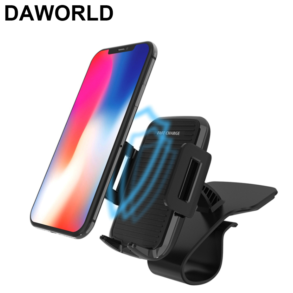 DAWORLD Car wirelss charger Qi Wireless Charger For iPhone X 8 Plus Quick Charge Fast Car Holder