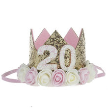 Chapéus feitos sob encomenda da festa de aniversário da menina do bebê do rosa do ouro de 20th 1th glitte, mini coroa crianças chapéu boné crianças festa de aniversário