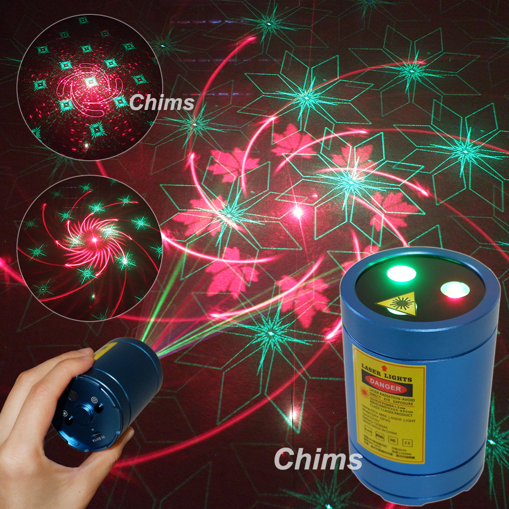 Chims Mini Portable Laser Light Rechargeable Cordless RG 30 Patterns Gobo Projector Outdoor Travel Camping Xmas Music DJ Party