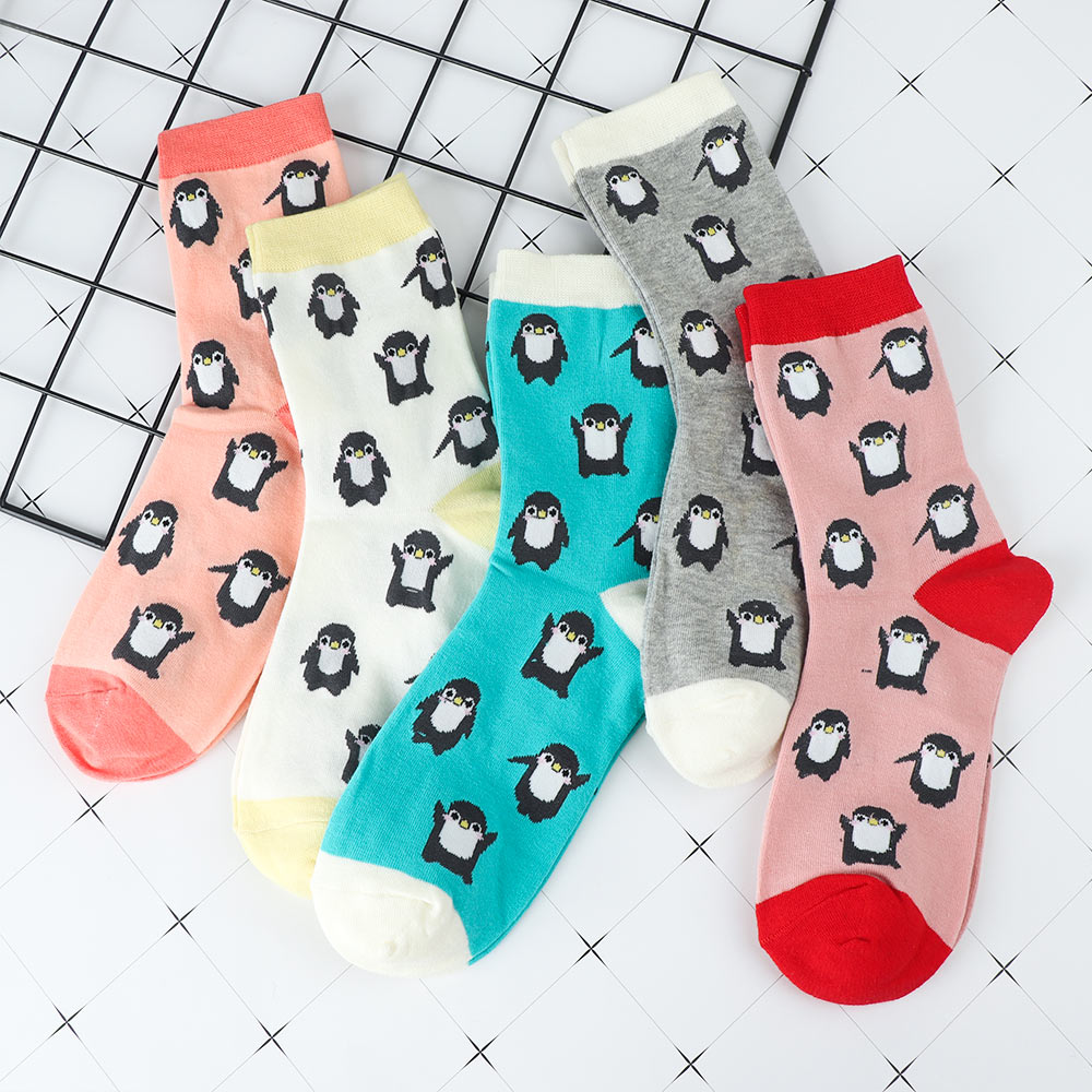 1 Pair Cute Penguin Animal Printed Women Comfortable Cotton Funny Short   Socks   Autumn Winter Breathable Warm   Socks