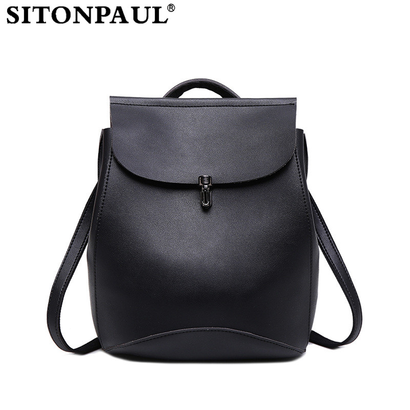 SITONPAUL Preppy Style School Backpack Fashion Women Backpack for Girl Black Backpack Female Girl Bag Design