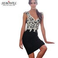 Fashion 2015 Sexy V Neck Applique Black Lace Dress Sleeveless Short Dress Office Work Wear Women
