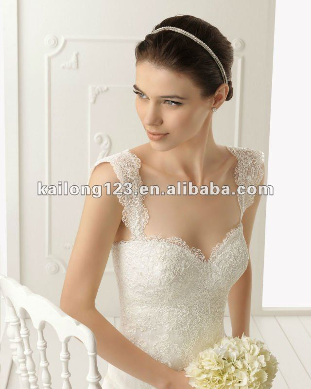 Online Shop Stunning Sweetheart Removable Straps Mermaid Chapel Train Lace Wedding Dresses