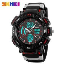 SKMEI Men 's Large Dial 50M Waterproof Dual Display Wristwatches Students Outdoor Sports Multifunction Fashion Watches 2016
