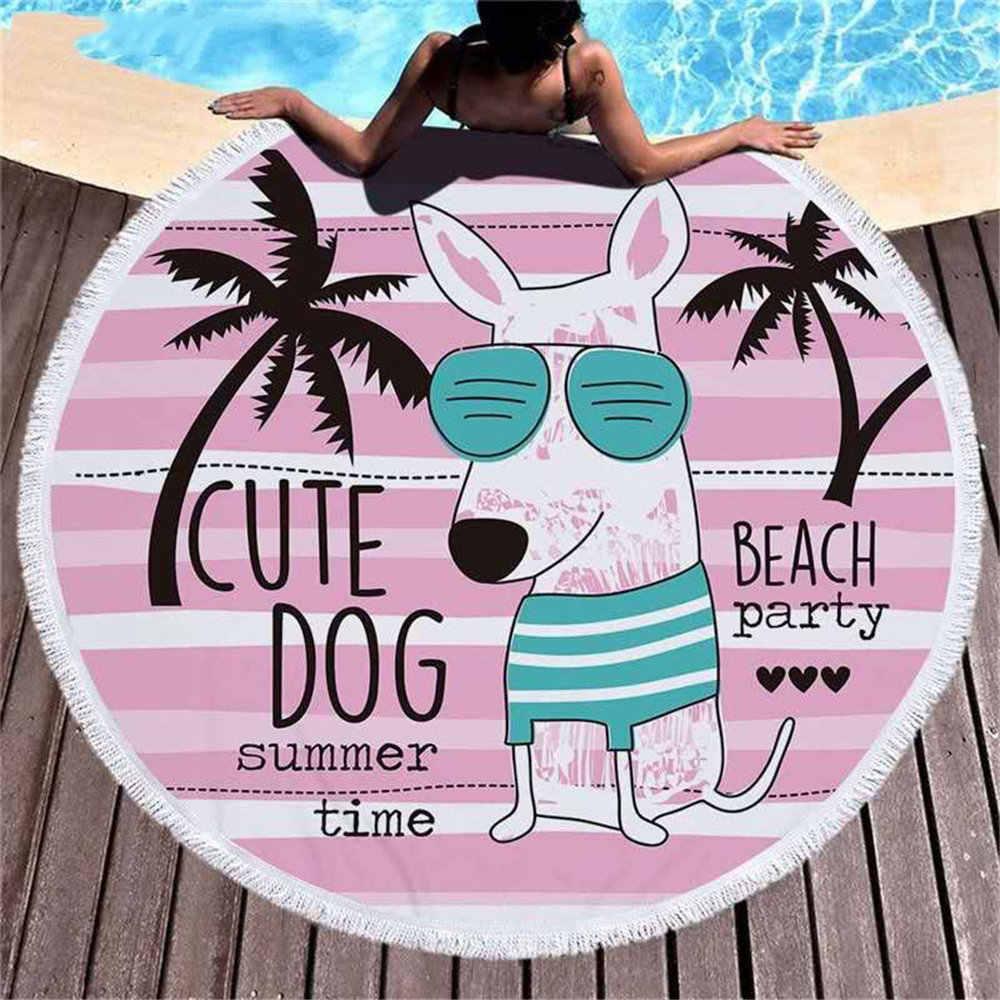 漫画の動物のラウンド素敵なシャーク犬カニオウムプリントマイクロファイバービーチタオル子供のピクニック毛布