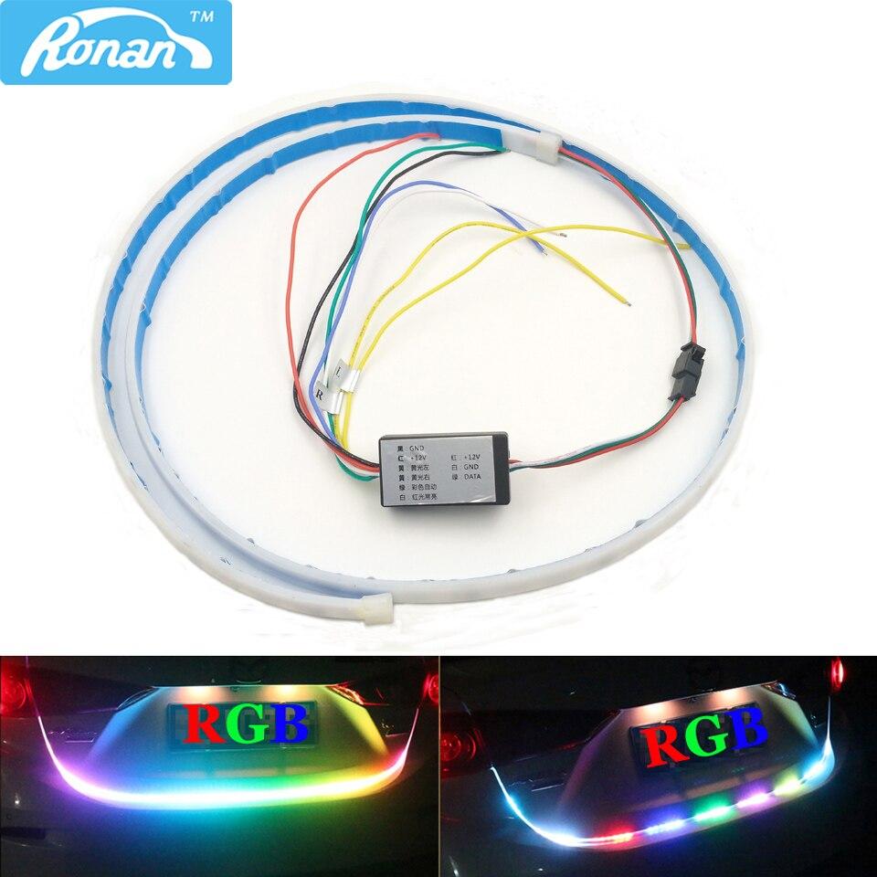 RONAN Multicolore RGB Arrière Tronc boîte de Queue Lumière Dynamique Streamer De Frein Clignotants Avertissement LED Éclairage de Bande 120 cm De Voiture style