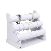 Wholesale 3 Tier PU Leather Watch Bracelet Bangle Necklace Jewelry Organizer Storage Holder Display Stand Rack White Color