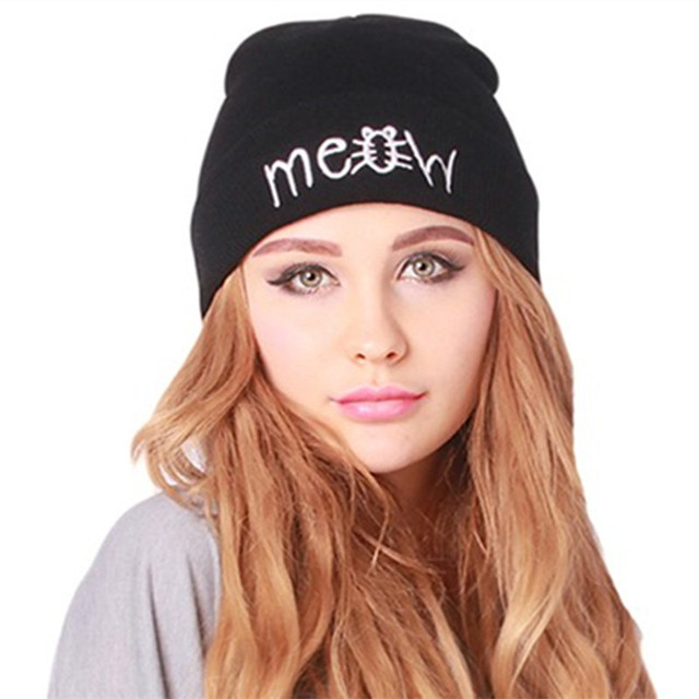 a61d81858aa14 Winter Beanie Women Men Fashion MEOW Letter Printed Beanie Cap Cotton Blend  Knitted Beanies Hiphop Hats