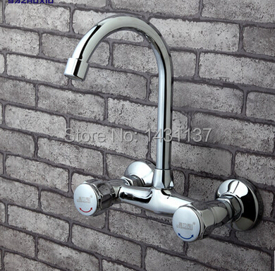 wholesale and retail wall mounted brass chrome hot and cold kitchen faucet with swiveling pipe sink faucet basin faucet wholesale and retail chrome finish bathroom wall mounted basin sink countertop faucet