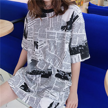 NiceMix Long Cool T Shirt Women Summer Loose Hip Hop White Graphic Funny t Shirts Ulzzang Harajuku Korean Fashion
