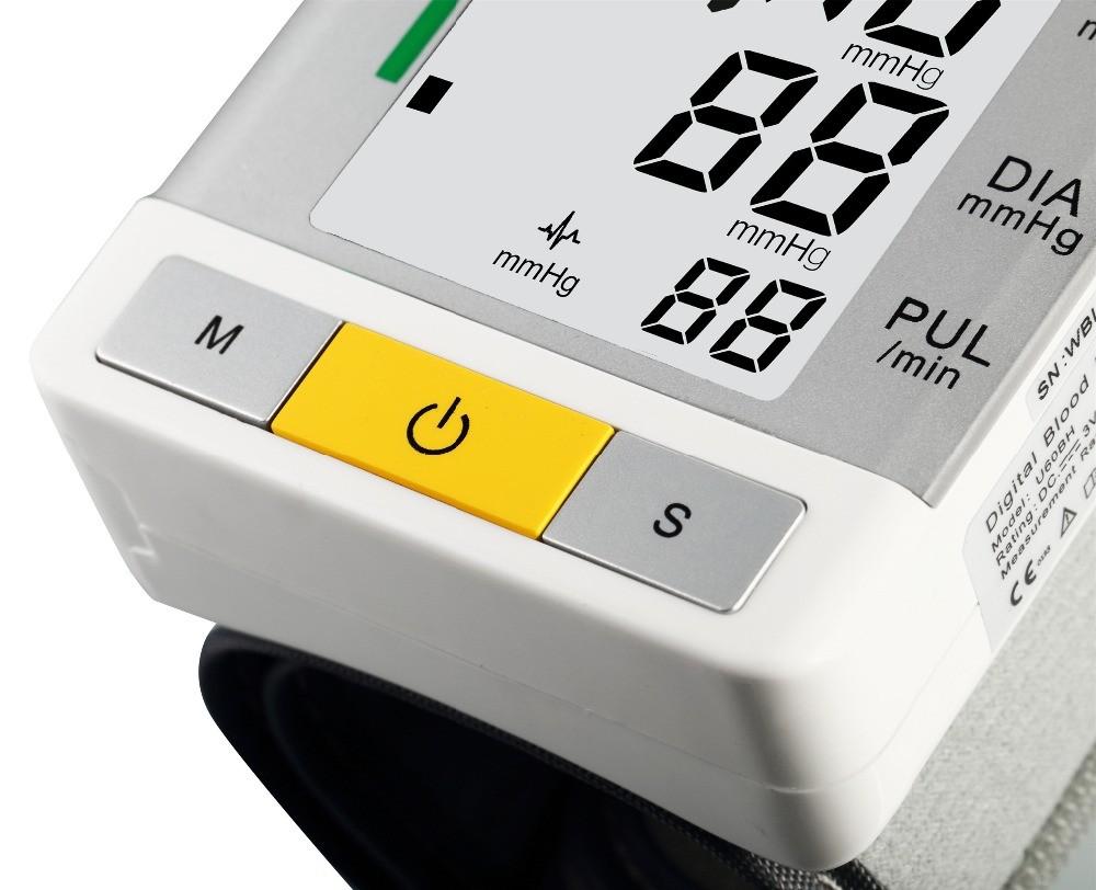 AOEOM Household Health Monitor , Portable Digital Wrist Blood Pressure Pulse Monitor Sphygmomanometer tonometer For Health Care 16