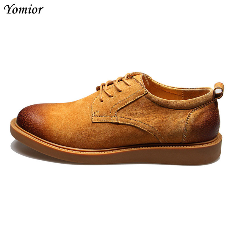 Yomior New Arrival High Quality Men Flats Breathable Fashion Men Casual Shoes Zapatos Hombre British Vintage Real Leather Shoes men s leather shoes new arrival lace up breathable vintage style casual shoes for male footwears zapatos size 38 44 8151m