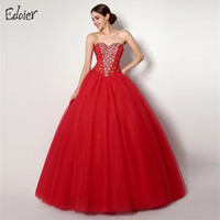 Cheap Red Quinceanera Dresses Ball Gown Sweetheart Beaded Crystal Tulle Vestidos De 15 Anos Sweet 16