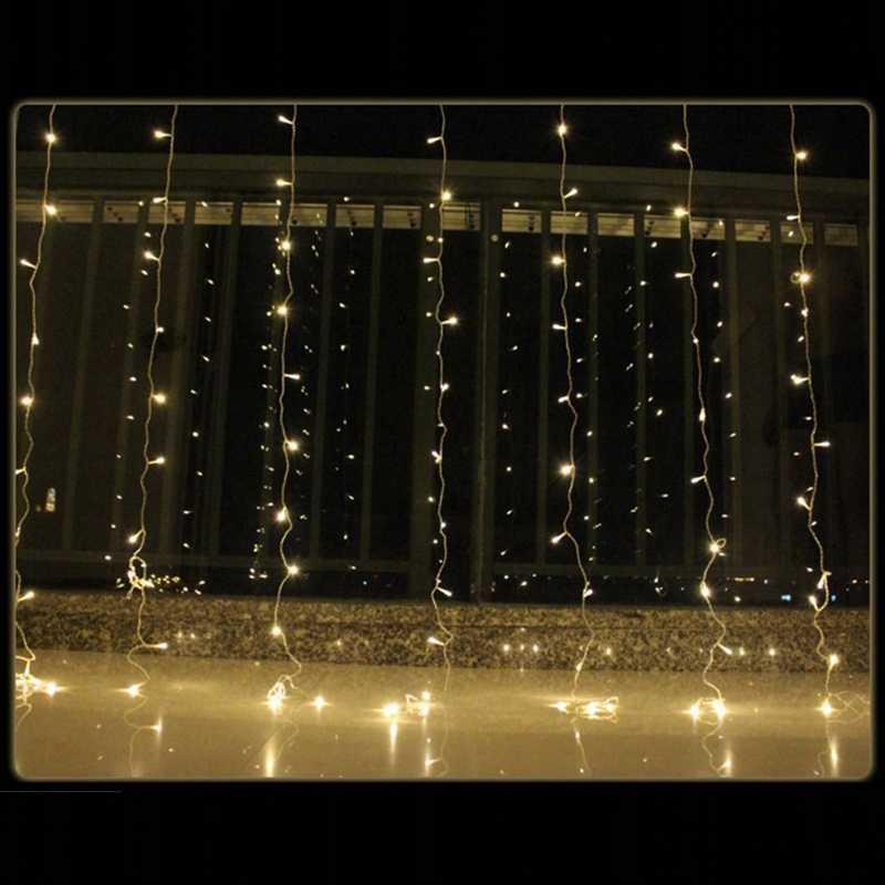 3X3 м светодиодные гирлянды в виде сосульки, Рождественская гирлянда со сказочными огнями, наружный дом для свадьбы/занавески/украшения сада, EU Plug