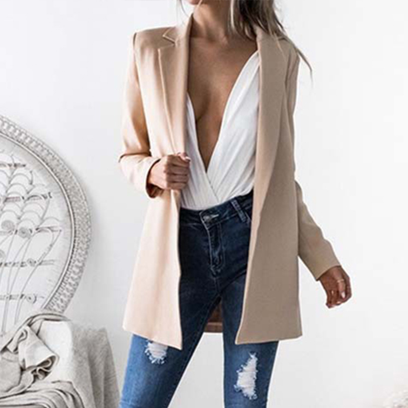 Women's Blazers Jacket 2018 Autumn Coat Female Work Office Women Suit Slim None Button Business Long Top Elegant Lapel Cardigans