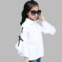 Girls Blouse Spring Autumn Turn-down Collar Girls White Tops Shirts Teenage Kids Tee For Girls 6 8 10 12 14 Year School Blouse