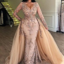 Арабское вечернее платье с длинным рукавом и блестками цвета шампанского, со съемной юбкой и v-образным вырезом, Дубай, женские вечерние платья
