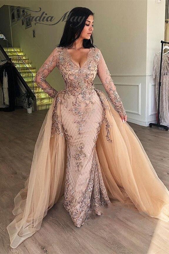 Champagne Sequin Mermaid Long Sleevs Arabic Evening Dress With Detachable Skirt V-Neck Dubai Women Formal Prom Dresses 2019 Long