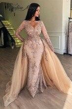Champagne Sequin Mermaid Long Sleevs Arabic Evening Dress with Detachable Skirt V Neck Dubai Women Formal Prom Dresses 2020 Long