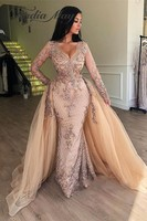 Champagne Sequin Mermaid Long Sleevs Arabic Evening Dress with Detachable Skirt V Neck Dubai Women Formal Prom Dresses 2019 Long