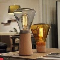 Lamparas De Mesa Para El Dormitorio Nordic Dimmable Wood Table Bureaulamp Bedside Study Glass Edison Light Bulb Table Lamp