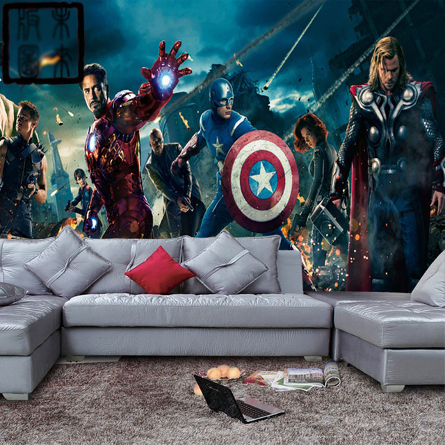 Marvel avengers heroes photo wallpaper 3d wall mural kids for Boys mural wallpaper