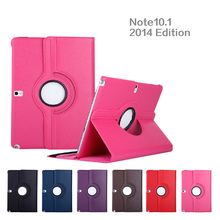 360 Degree Rotating Litchi Grain Folio Stand PU Leather Cover Case For Samsung Galaxy Note 10.1 2014 Edition P600 P601 Tablet
