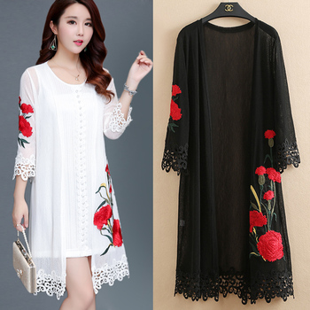 Brieuces Woman embroidered outer cardigan jacket woman loose long sun protection clothing shawl