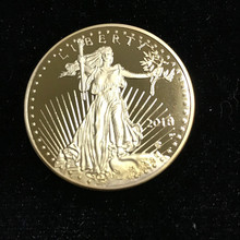 10 Pcs Non magnetic The Freedom 2018 Liberty souvenir badge 1 OZ 24K real gold plated badge USA eagle 32.6 mm replica coin