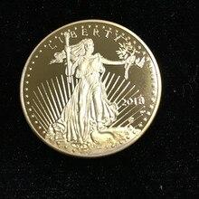Insignia de recuerdo de La Libertad 2018, no magnética, 1 OZ, 24K, insignia chapada en oro, águila de EE. UU., moneda de réplica de 32,6mm, 10 Uds.