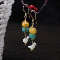925 Sterling Silber nadel ohrbügel designer handgemalte naturstein shell vogel lange ohrringe