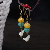 925 Sterling Silver needle ear hook designer hand painted natural stone shell bird long earrings