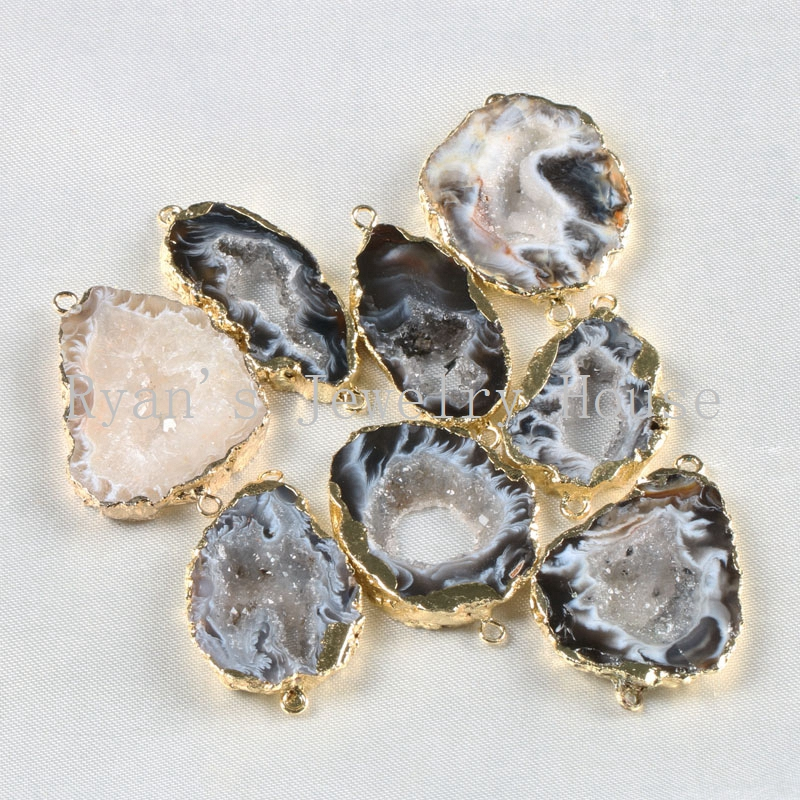 BOROSA Natural Brazilian Electroplated Gold Color Edged Slice Open Agates Geode Drusy Druzy Connector Pendants