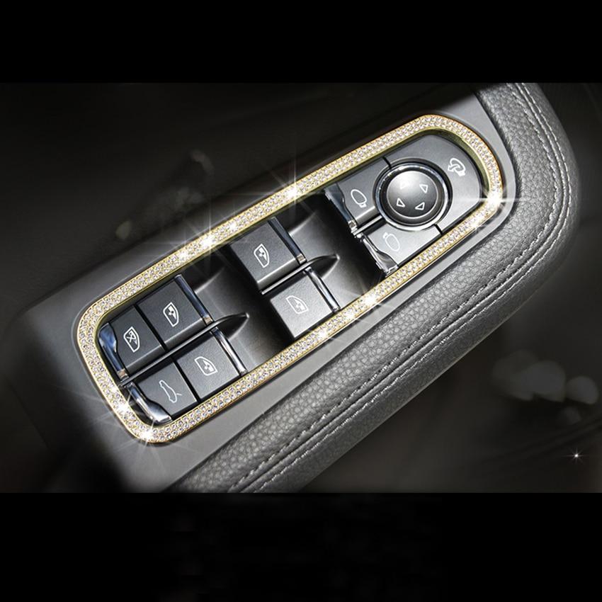 цена на 5pcs Car Interior Accessories For Porsche Macan Cayenne Panamera Door Window Button Frame Trim