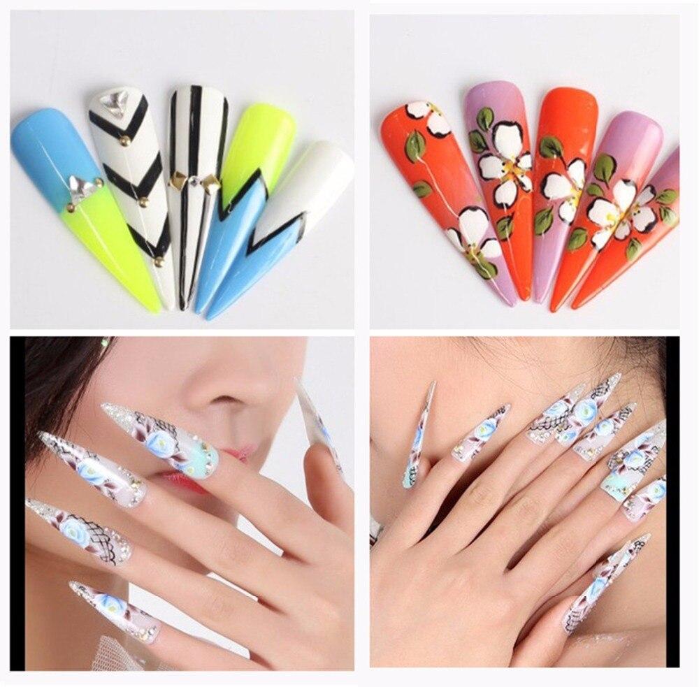 Makartt 100Packs Long Stiletto Nails Long Sharp False Nail Art Tips ...