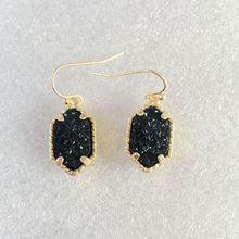 10 colors drusy hexagon dangle earrings  imitation crystal stone druzy earings gold color brand jewelry For women KS 19