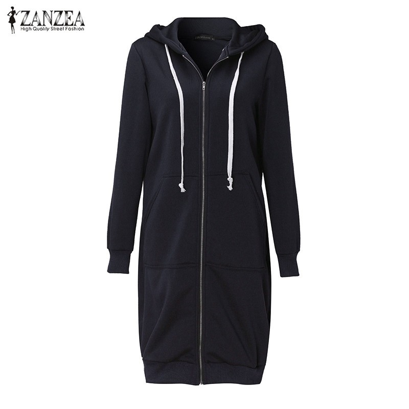Oversized 2017 Autumn Women's Casual Long Hoodies Sweatshirt, Coat, Pockets, Zip Up, Outerwear Hooded Jacket 22