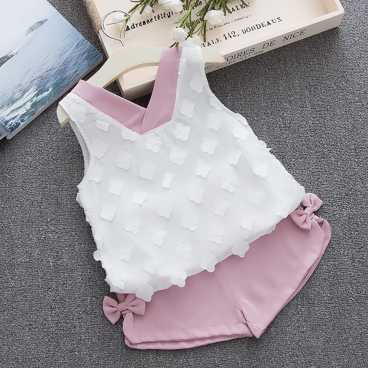 HTB13TZ3d.uF3KVjSZK9q6zVtXXav - Humor Bear Baby Girl Clothes Hot Summer Children's Girls' Clothing Sets Kids Bay clothes Toddler Chiffon bowknot coat+Pants 1-4Y