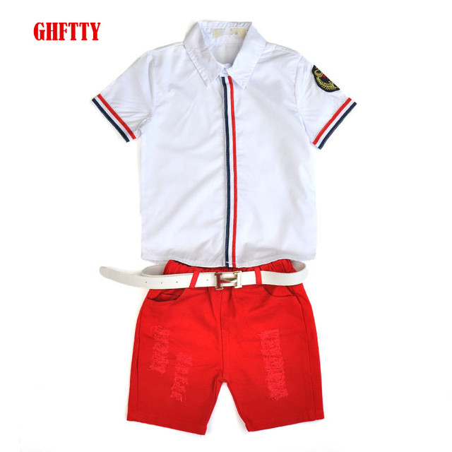 cffafba64ea9 Hot sale 2016 Summer style Children clothing sets Baby boys girls t shirts+shorts  pants+belt 3pcs sports suit kids clothes