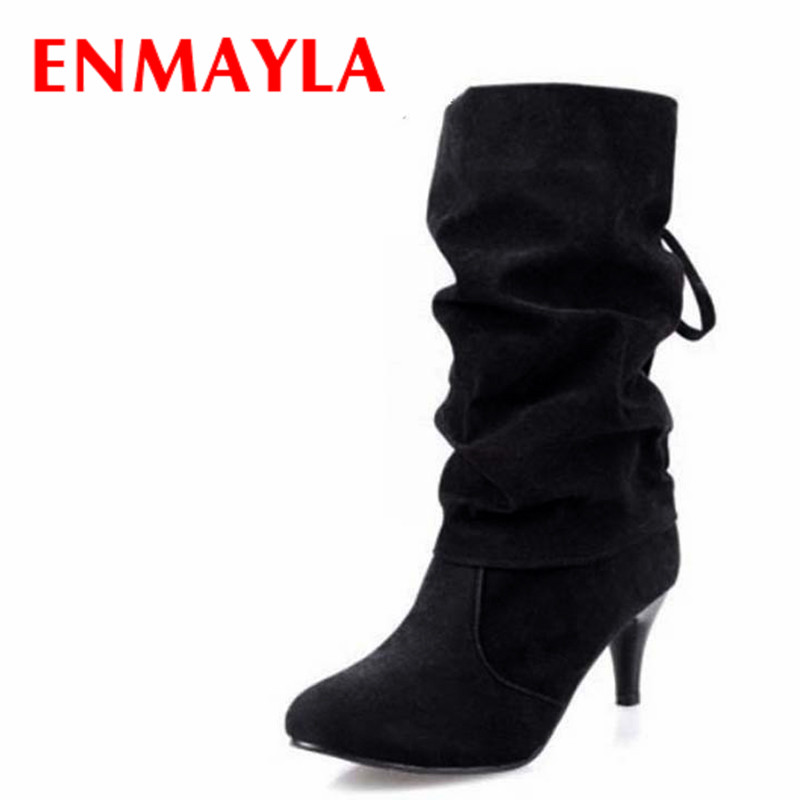 где купить ENMAYLA Sexy High Heels Half Boots Women Fashion Pointed Toe Bow Mid-Calf Boots Lace-up Slip-on Rhinestion Ladies Shoes Woman по лучшей цене