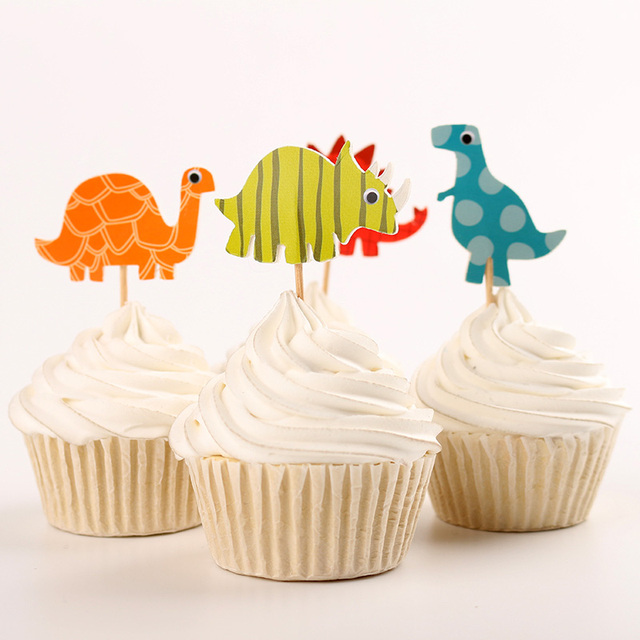 24pcs Jurassic World Dinosaur Party Supplies Cartoon Cupcake Toppers Pick Kid Boy Birthday Decorations