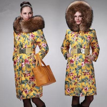 Super Luxury Large Fur Collar Women Long Down Jacket Thick Winter Coat Multi Color Plus size