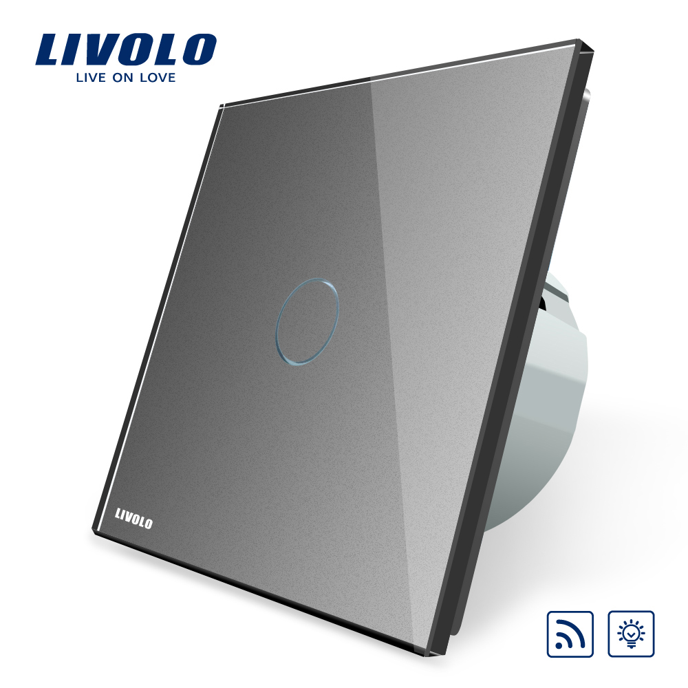 Livolo EU Standard Switch, VL-C701DR-15,Grey Glass Panel, AC 220~250V Remote& Dimmer Function Wall Light Switch(No Remote)