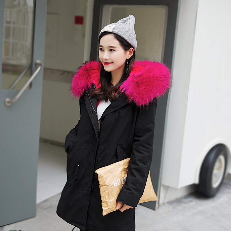 2017 New Fashion Black Winter Jacket With Rose Real Raccoon Fur Collar Women's Plus Size Long Thick Parker Coat With Fur Liner inc international concepts plus size new black rose print dress 14w $129 5 dbfl