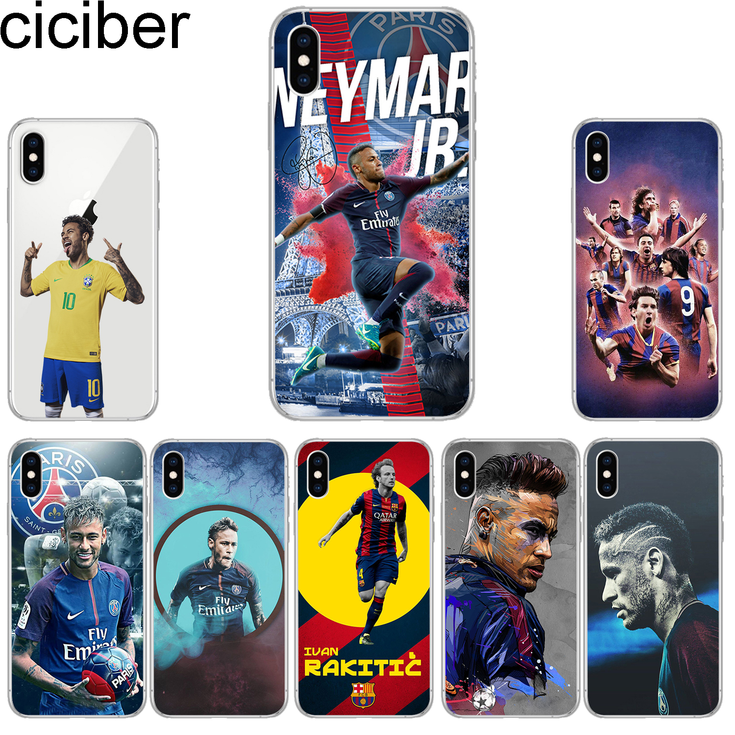 85b4b826fb9 ciciber Phone Cases for iPhone 8 7 6 6s Plus SE 5s Soft TPU Back Cover for  iPhone X Xs XR XS Max Case Neymar Coque Capa Fundas