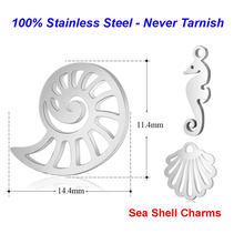 10 adet/grup 100% paslanmaz çelik deniz kabuk Charms VNISTAR yüksek cilalı denizatı DIY Charm Conch takı bulma malzemeleri