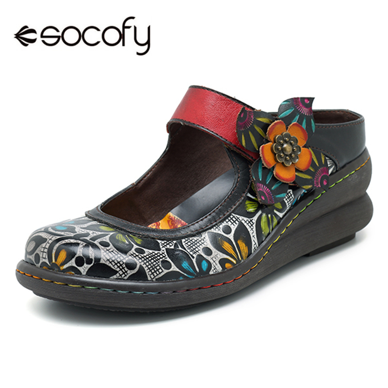 Socofy Vintage Printed Flat Shoes Women Flats Genuine Leather Retro Flower Platform Shoes Woman Heel Mary Jane Flats New Fashion traditional chinese shoes sandals retro flats size 41 large platform hollow out flower floral japanese school mary jane women