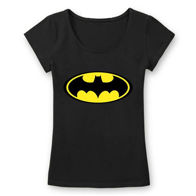 Nueva Manera del verano de Manga Corta de Las Mujeres Batman Camisetas de Algodón de Moda Impreso Camisetas Cuello Redondo escotado Camisetas Tops