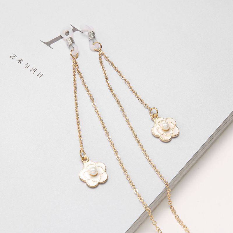Pearl Flower Eyeglasses Chain Sunglasses Holder Reading Glasses Chain Retainer Cord Necklace String Rope