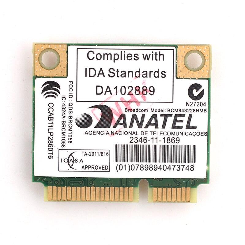 AzureWave Broadcom BCM943228HMB 802.11a/b/g/n DualBand 300M BT4.0 Half Wifi Card Wireless Bluetooth 4.0 Half MINI pci-e Card visa
